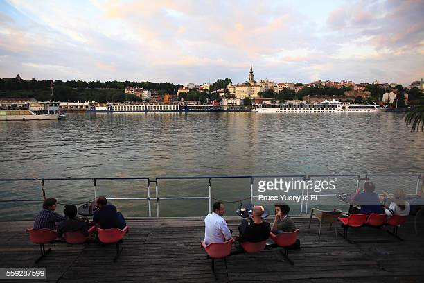 The view of Sava River and Old Town of Belgrade