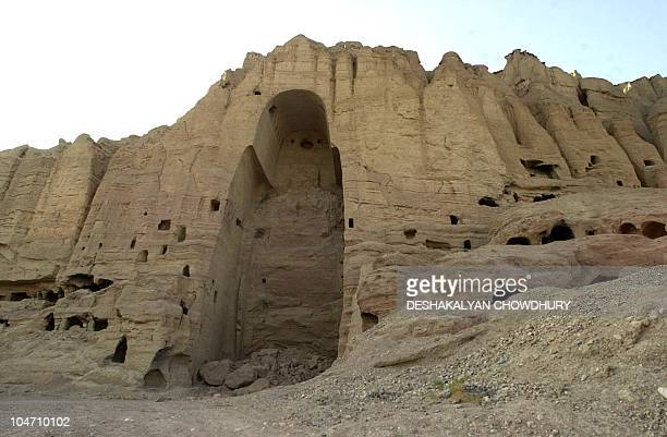 The view of shows the 53meter high Buddha cave where the Bamiyan Buddha stood until last year when it was blown up by the ruling Taliban at Bamyan 31...