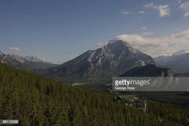 The view of the Cascade Mountain and downtown from the Sulphur Mountain lookout is seen in this 2009 Banff Springs, Canada, early morning landscape...