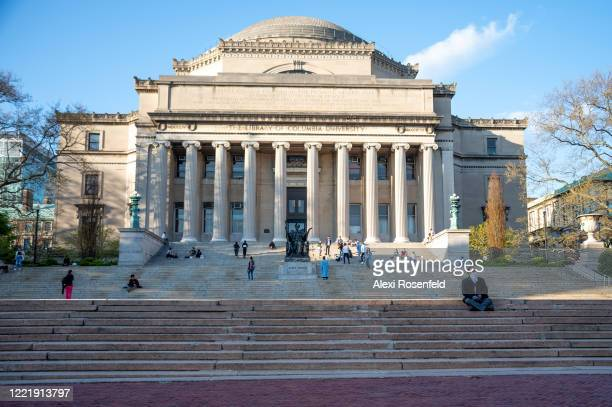 The view of the Columbia University Alma Mater statue and steps amid the COVID-19 pandemic on April 28, 2020 in New York City, United States....