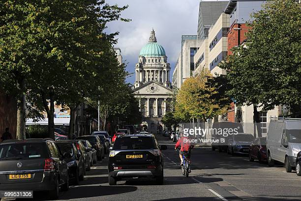 the view of the dome of belfast city hall - donegall square stock pictures, royalty-free photos & images