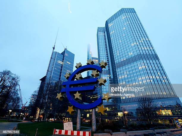 The view of the Euro Tower in Frankfurt am Main Germany on January 14 2014 Frankfurt listed as one of ten Alpha world cities in German is the center...