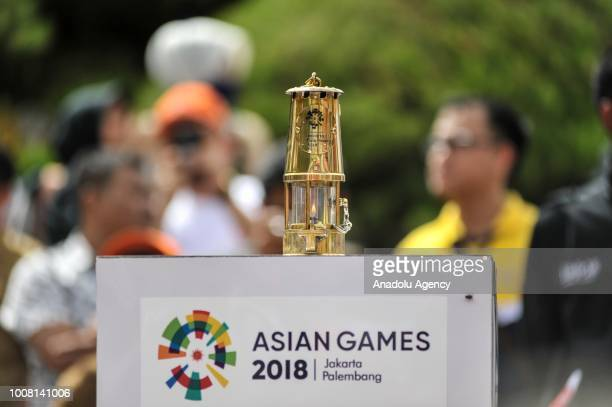 The view of the flame holder during the Asian Games torch relay in Banda Aceh Indonesia on July 31 2018 The 18th Asian Games is scheduled to begin in...