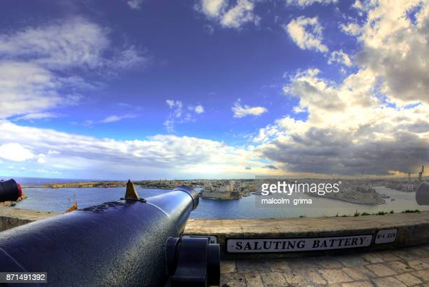The View of the Grand Harbour and the three cities from the Saluting Battery in Valletta