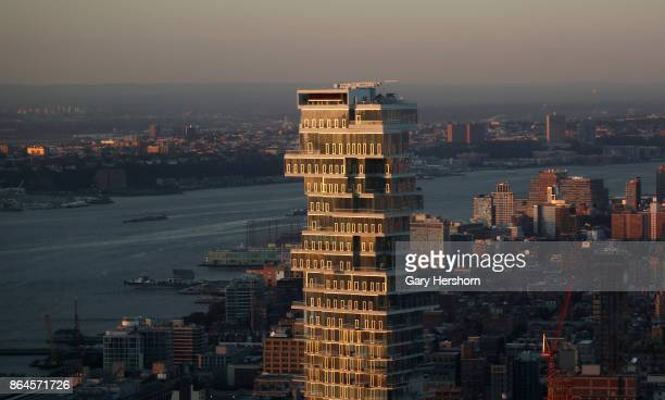The view of the Jenga residential tower from a 76th floor penthouse apartment at the lower Manhattan residential tower New York by Gehry on October...