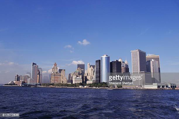 The view of the Manhattan skyline one week after a terrorist attack, which destroyed the Twin Towers of the World Trade Center. The view is looking...