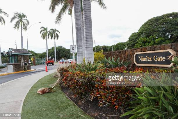 The view of the Nimitz Gate entrance to Joint Base Pearl HarborHickam on December 4 2019 in Honolulu United States Early reports say a man in a...