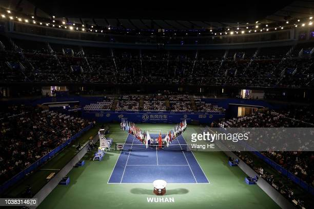 The view of the opening ceremony during 2018 Wuhan Open at Optics Valley International Tennis Center on September 23 2018 in Wuhan China