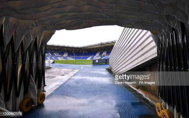 The view of the pitch from the tunnel ahead of the Sky Bet Championship match at St Andrew's Trillion Trophy Stadium, Birmingham.