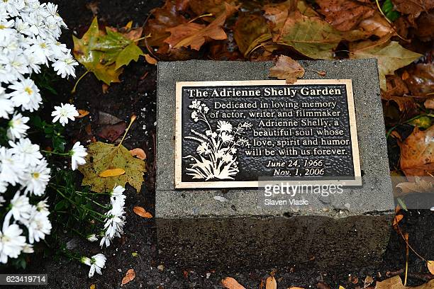 The view of the plaque for Adrienne Shelly at The Adrienne Shelly Memorial Garden on the 10th anniversary of her passing at Abingdon Square Park on...