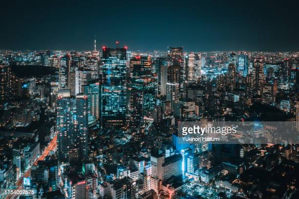 the view of tokyo skyline at night - observation point stock pictures, royalty-free photos & images