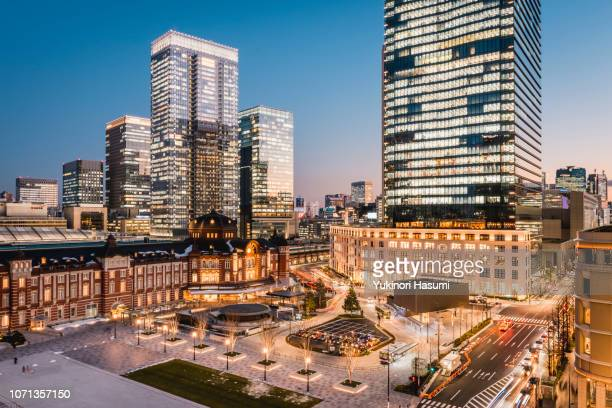 the view of tokyo station and marunouchi at twilight - 丸の内 ストックフォトと画像