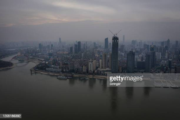 The view of Yangzi river inside Landscape on March 4th 2020 in Wuhan Hubei China tFlights trains and public transport including buses subway and...