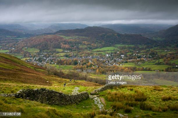 The view over Ambleside and Loughrigg Fell from Wansfell in the English Lake District National Park.