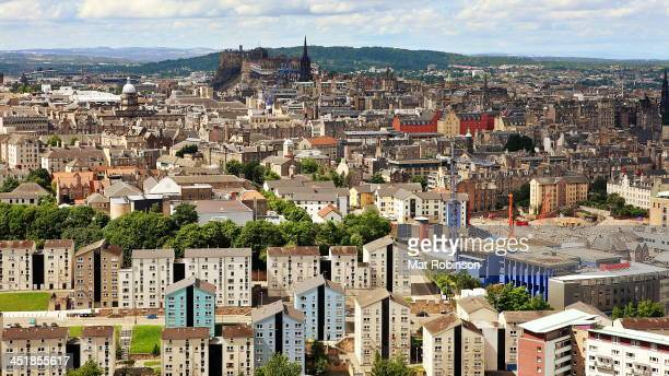 CONTENT] The view over Edinburgh to the castle from Salisbury Crags in Hollyrood park near Arthur's Seat A cityscape capturing the entire city centre...