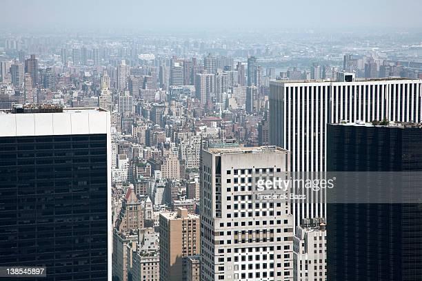 The view over Manhattan, hazy sky