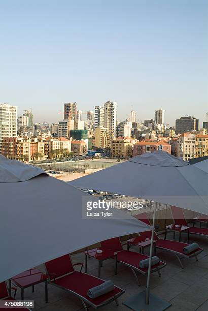The view over Martyrs Square in Beirut from the roof top pool at Le Gray hotel The hotel was a long time in the making construction intermittently...
