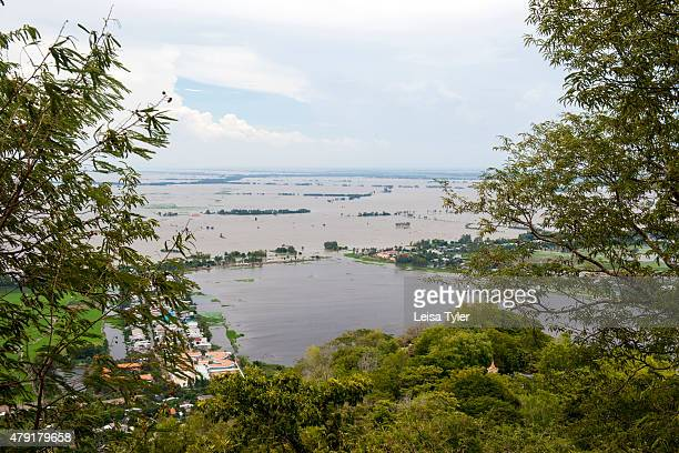 The view over the flood plains of Cambodia from Sam Mountain a sacred place for Buddhists outside of Chau Doc Sam Mountain and its surrounds contain...