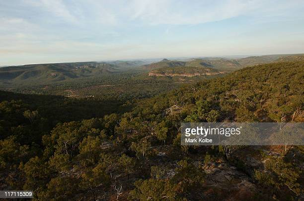 The view over the Quinkan Country is seen from a helicopter during a visit to view the Giant Horse Aboriginal rock art galleries on June 19 2011 in...