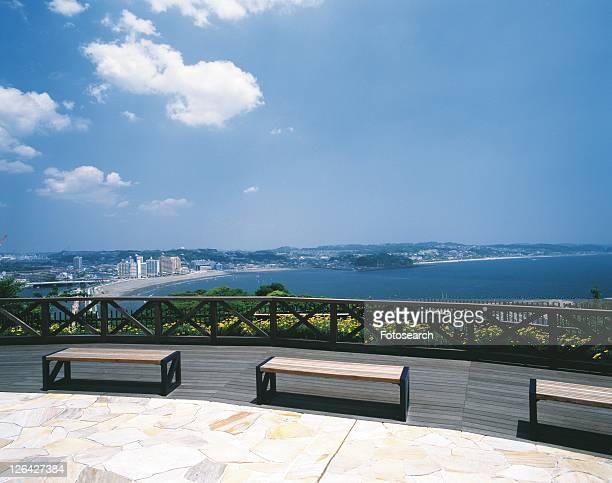 the view, pan focus of enoshima, shonan, kanagawa prefecture, japan, high angle view, pan focus - kanto region - fotografias e filmes do acervo