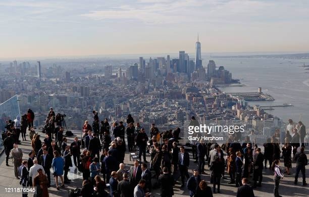 The view south to the skyline of lower Manhattan on the opening day of the Edge NYC an outdoor observation deck on the 100th floor of 30 Hudson Yards...
