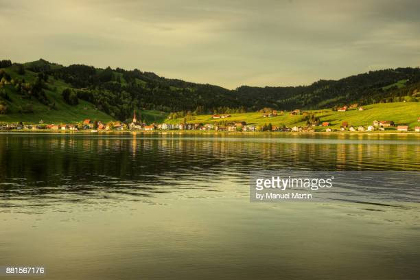 the view to the village willerzell - schwyz stock pictures, royalty-free photos & images