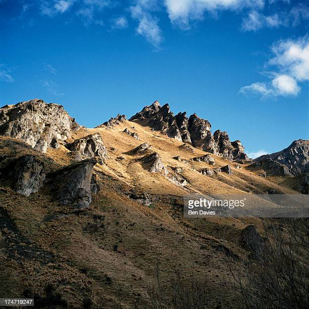 The view towards Coronet Peak seen from Skippers Canyon which is one of New Zealand's most scenic areas situated a short distance from Queenstown In...