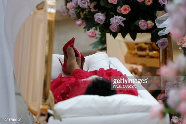 The viewing of Aretha Franklin's casket is seen at the Charles H. Wright Museum of African American History on August 28, 2018 in Detroit, Michigan....