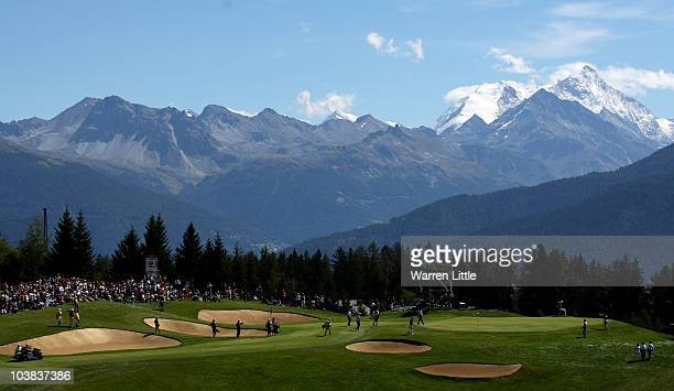 The views across the seventh green during the third round of The Omega European Masters at Crans-Sur-Sierre Golf Club on September 4, 2010 in Crans...