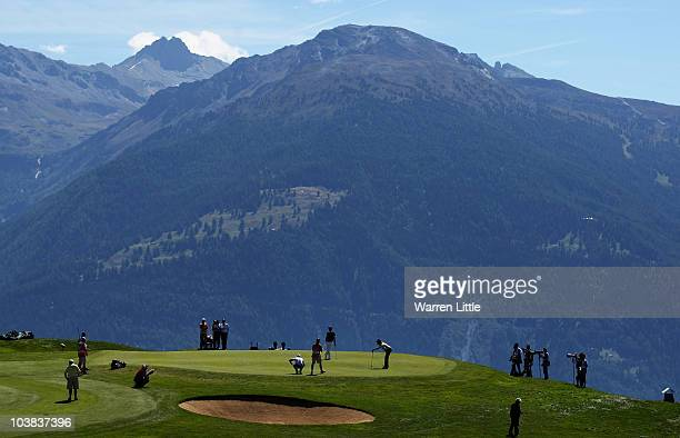 The views across the seventh green during the third round of The Omega European Masters at CransSurSierre Golf Club on September 4 2010 in Crans...
