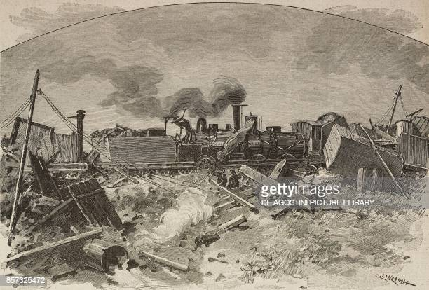 The Vignale rail disaster October 6 drawing by C Linzaghi illustration from Il Secolo Illustrato della Domenica Year II No 55 October 19 1890
