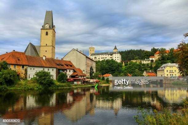 the village and castle rozmberk on the river vltava - frans sellies stock pictures, royalty-free photos & images
