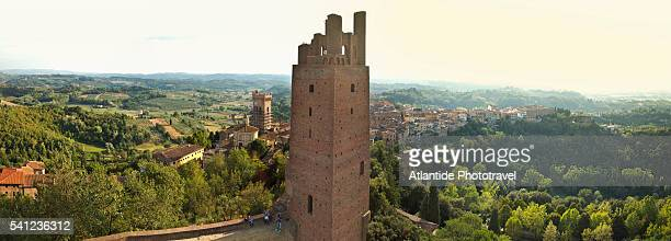 the village and the tower, air view by drone - san miniato stock-fotos und bilder
