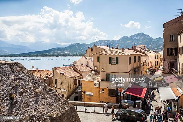 village und touristischen Hafen von Calvi, Korsika/Frankreich
