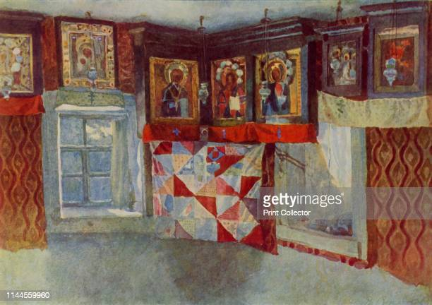 """The Village Chapel', 1880-1889, . Russian icons above a patchwork cloth. From """"Russian Painting of the 18th and 19th Centuries"""" by Vladimir Fiala...."""