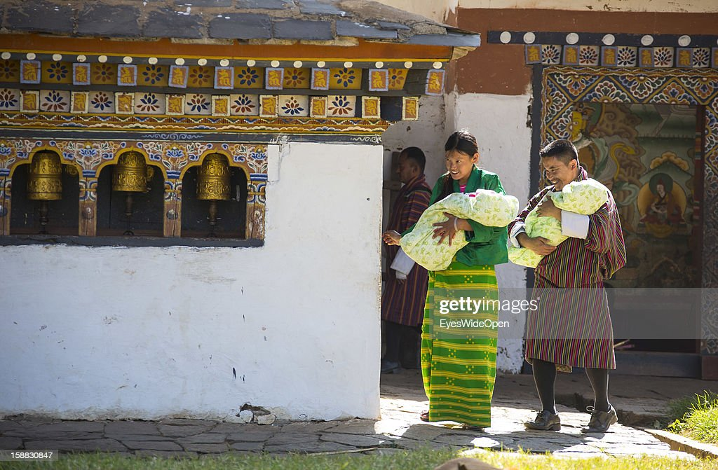 The village Chimi Lhakhang in the Punakha Valley with its temple, monastery is renowned for its fertility blessings, phallus or penis symbols, where pilgrims go for praying for children, fertility, on November 18, 2012 in Chimi Lhakhang near Thimphu, Bhutan. There exist stories about tourists and their pilgrimage to get pregnant after their visit.