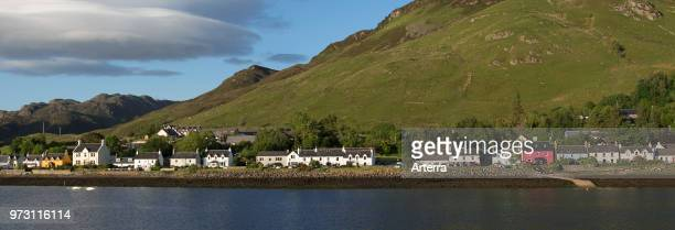 The village Dornie on the shore of Loch Duich Ross and Cromarty Western Highlands of Scotland UK