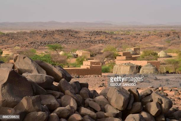The village of Azel near Agadez northern Niger is pictured on April 6 2017 The region has been recently hit by severe drought / AFP PHOTO / ISSOUF...