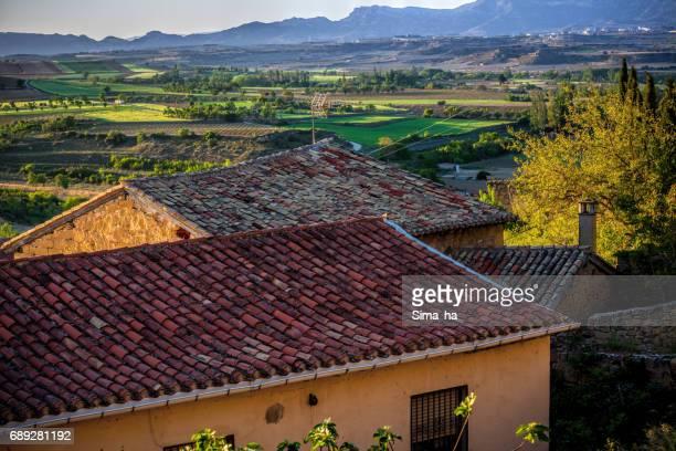 Het dorp van Briones en velden.  Rioja Alta, Spanje