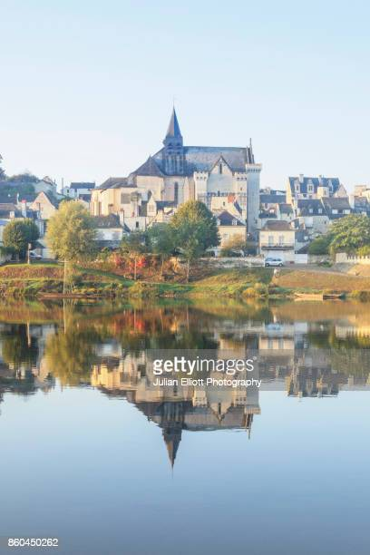 The village of Candes Saint Martin reflecting in the river Vienne.