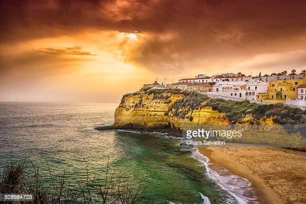 The village of Carvoeiro at the sunset