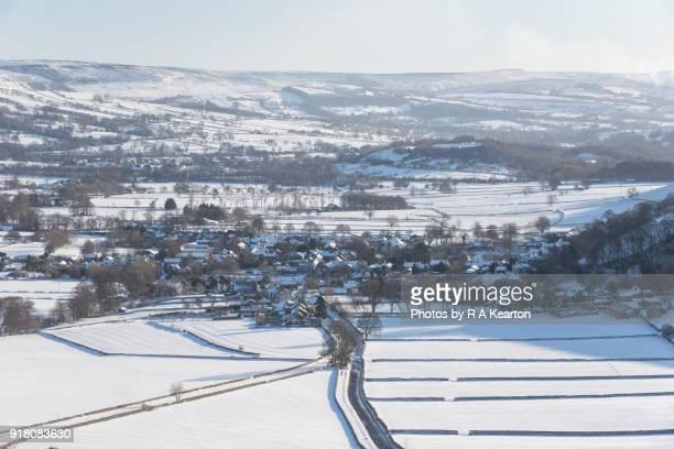 The village of Castleton in winter, Peak District, Derbyshire, England