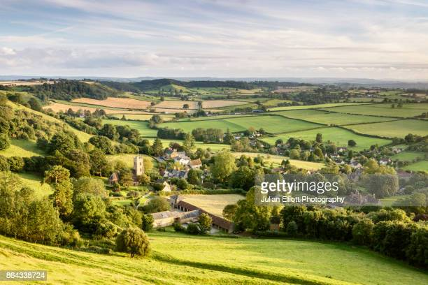 the village of corton denham in somerset, england. - somerset england stock pictures, royalty-free photos & images