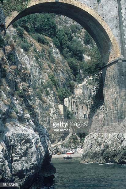 The village of Furore situated at the bottom of a deep gorge on the Amalfi Coast August 1984