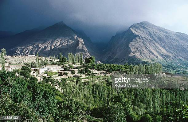 the village of karimibad in the hunza valley - gilgit baltistan stock photos and pictures
