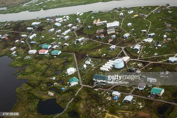 The village of Newtok is seen from a plane on June 29 2015 in Newtok Alaska Newtok which has a population of approximately of 375 ethnically Yupik...