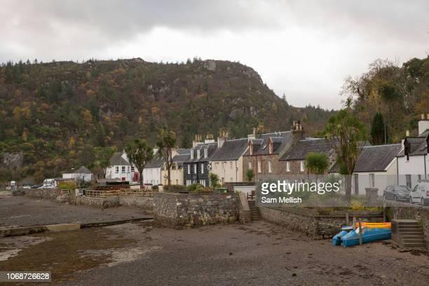 The village of Plockton on the 4th November 2018 in western Scotland in the United Kingdom. Plockton is a village in the Highlands of Scotland in...