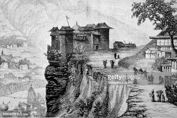 the village of Rampur the city of the Rama Himalaya India historical image or illustration from the year 1894 digital improved