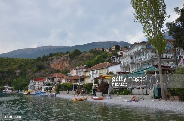 The village of Trpejca on the shores of Lake Ohrid Macedonia Europe