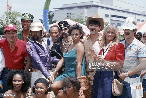 The Village people and other cast members of the film 'Can't Stop the Music' LR standing Unidentified Alex Briley Ray Simpson Unidentified Glenn...